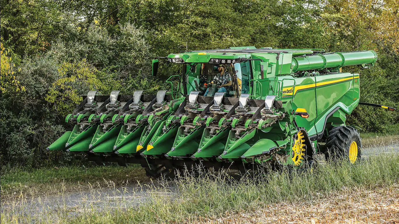 New John Deere 12-, 16- and 18-row CF Folding Corn Heads available for X Series Combines and 12-row heads for S Series Combines.