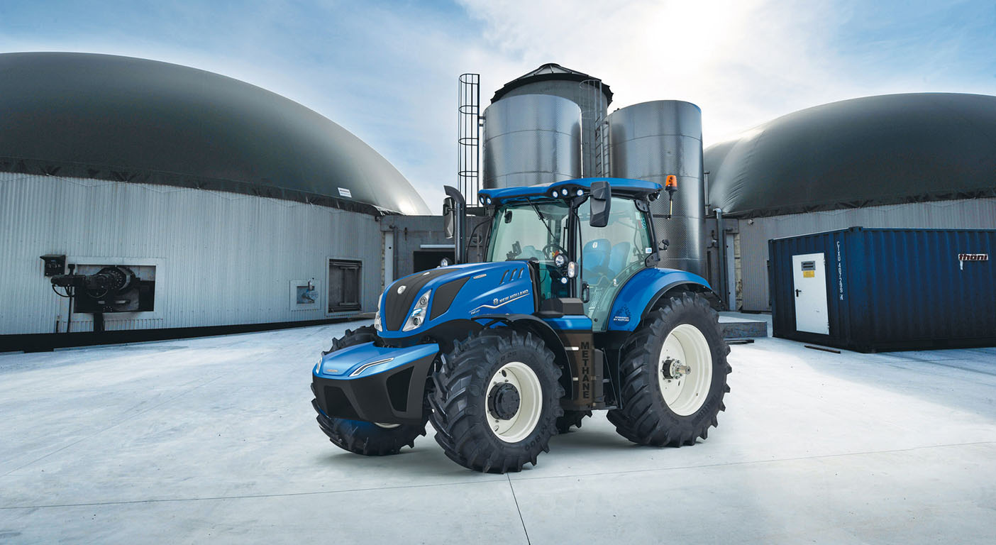 New Holland's methane powered tractor which can run on fuel produced by biodigesters on or local to the farm.