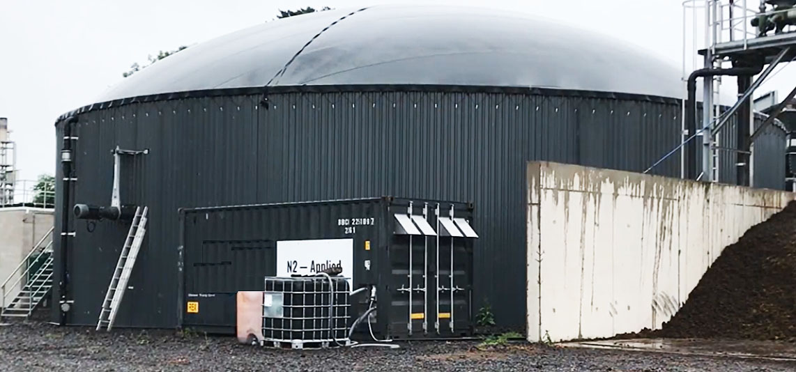 N2 Applied's reactor which takes digestate from the biodigester and turns it into a stable nitrogen fertiliser.