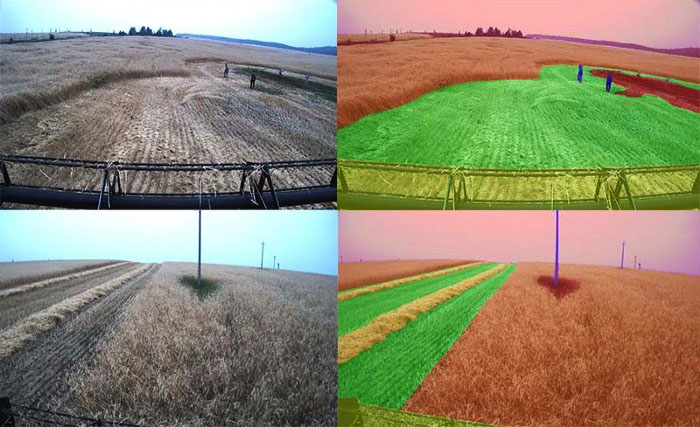 The system analyses images from just one video camera and, by using a deep learning convolutional neural network fine-tuned for agronomic purposes, understands the types and positions of objects facing the machinery, builds movement trajectories, and sends commands to perform manoeuvres.