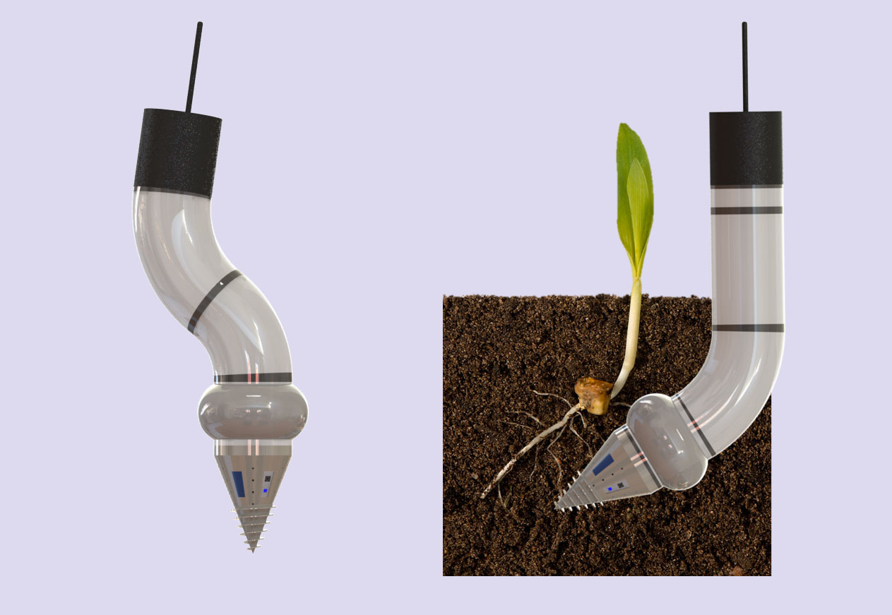 The worm-like robot will push through the soil to record properties such as soil density and compactness