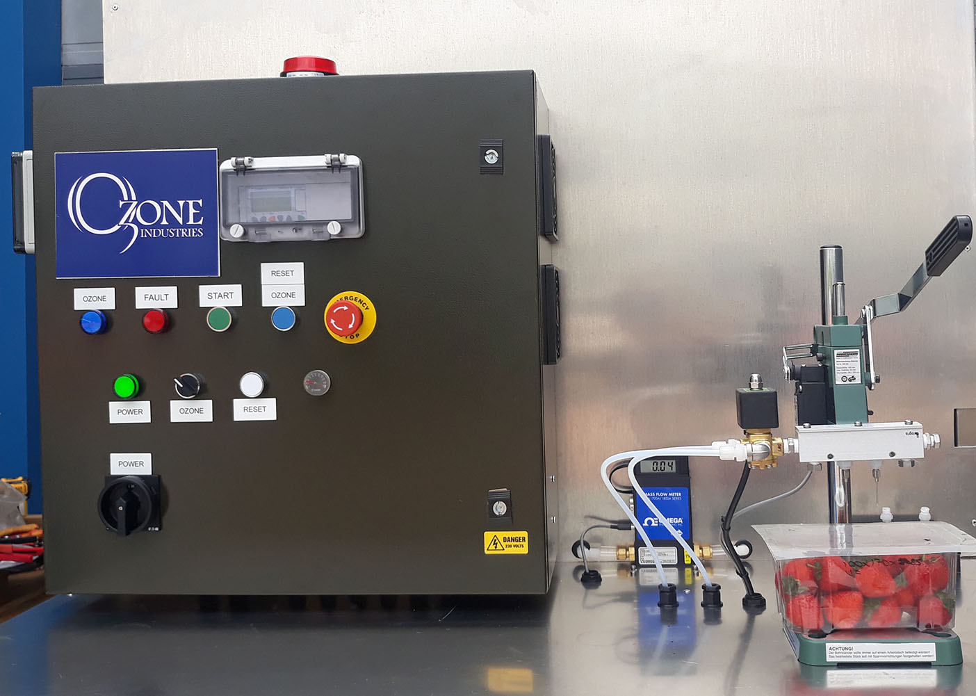 Experimental system for testing and optimising the ozone treatments to extend strawberry shelf-life