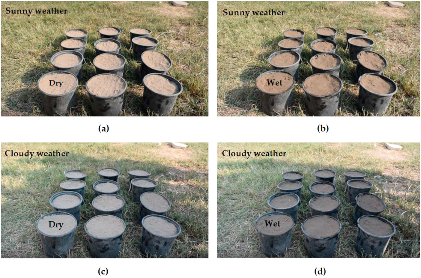 Data collection of the loam soil under four scenarios (a) S1: sunny-dry, (b) S2: sunny-wet, (c) S3: shadow-dry, and (d) S4: shadow-wet.