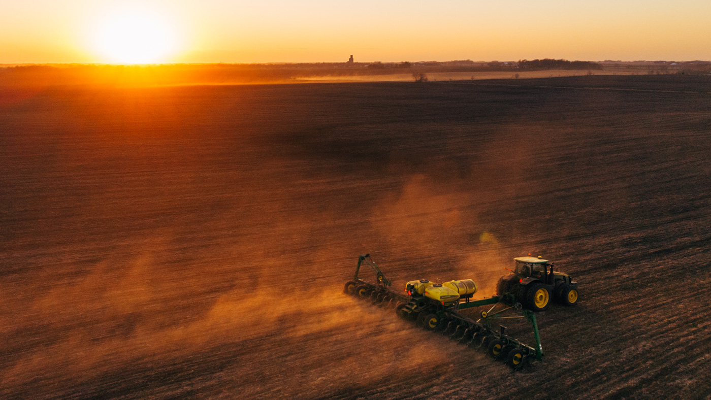 Pivot Bio products are applied at planting