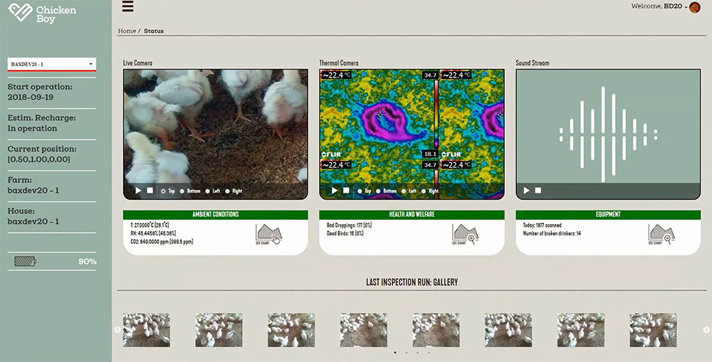 It also uses artificial intelligence (AI) to identify risks to broiler chicken health, welfare and also farm equipment. Farmers, vets and stock persons interact with ChickenBoy through mobile alerts or through Faromatics' own cloud platform.